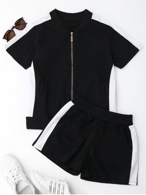 Sweat Suit Deux Tons et Shorts - Noir XL Mobile