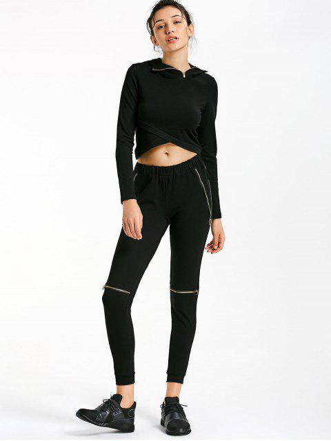 fashion Asymmetric Crossover Hoodie with Jogger Pants - BLACK M Mobile