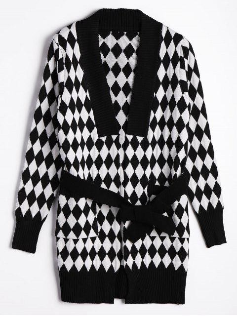 chic Belted Contrasting Diamond Cardigan - WHITE AND BLACK ONE SIZE Mobile