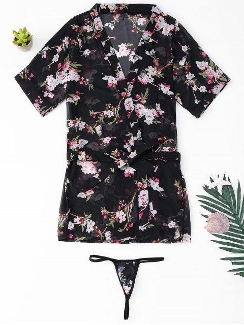 Conjunto de Lencería Floral Sheer - Negro Talla única Mobile
