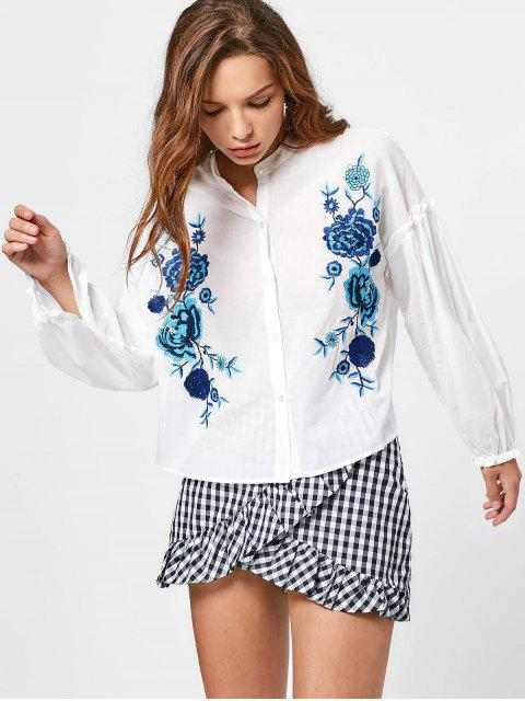 Bluse mit Blumestickerei und Knopf - Weiß M Mobile