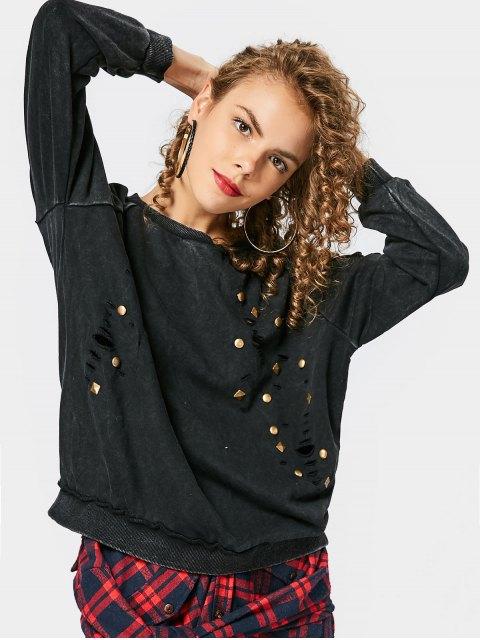 Sweat-shirt à Rivet Détresse Lâche - Noir Taille Unique Mobile
