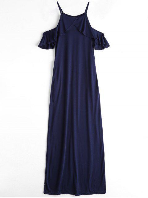 Cami Maxi Kleid mit Rüsche und Kalter Schulter - Blau XL  Mobile