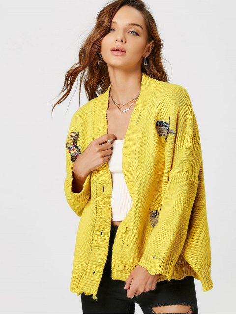 Wolljacke mit Vogelstickerei und Drop Schulter - Gelb Eine Größe Mobile