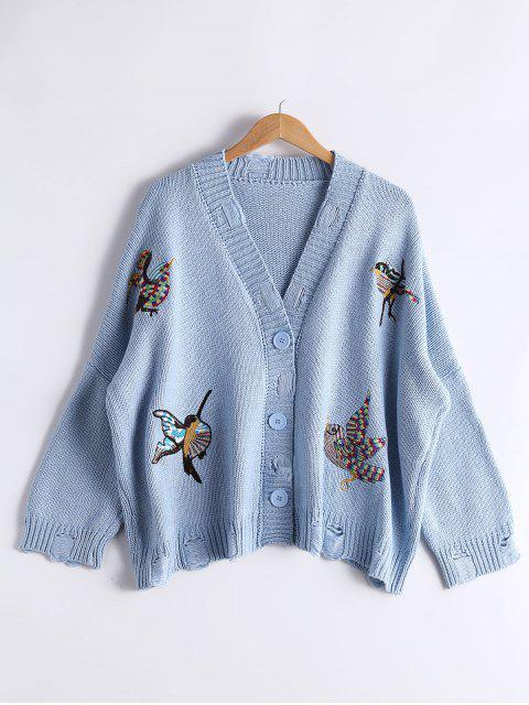 Wolljacke mit Vogelstickerei und Drop Schulter - Hellblau Eine Größe Mobile