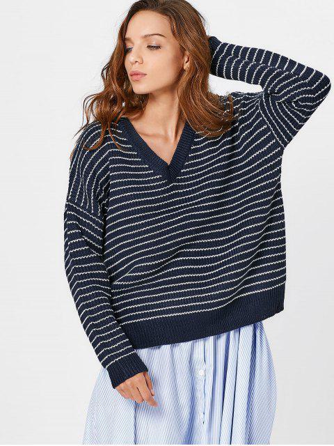 Gestreifter Pullover mit V-Ausschnitt und Drop Schulter - Schwarzblau Eine Größe Mobile
