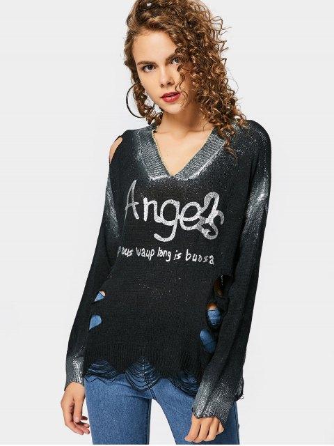 Weiter zerrissenener glänzender Pullover mit Buchstaben Muster - Schwarz Eine Größe Mobile
