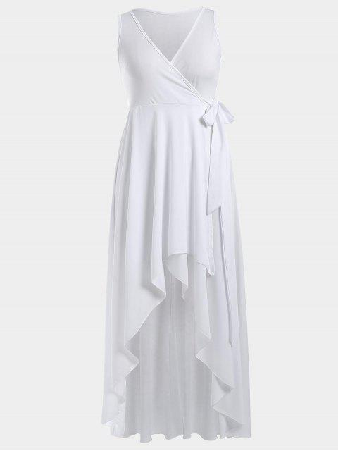 High Low Plunge Wrap Maxi Semi Prom Dress - Blanc S Mobile