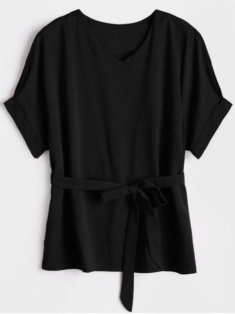Bluse mit V-Ausschnitt und Gürtel - Schwarz S Mobile