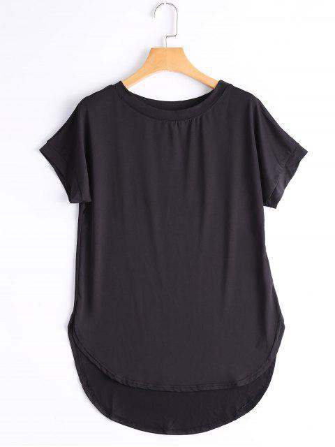 Runder Kragen Plain High Low T-Shirt - Schwarz L Mobile