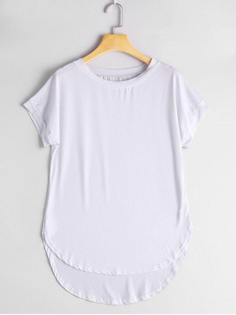 T-shirt Haut-Bas Simple Col Rond - Blanc S Mobile