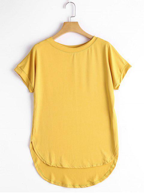 Runder Kragen Plain High Low T-Shirt - Ingwer-Gelb S Mobile