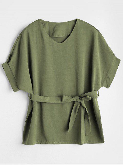 Bluse mit V-Ausschnitt und Gürtel - Bundeswehrgrün M Mobile