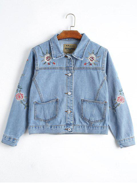 latest Button Up Floral Embroidery Denim Jacket - DENIM BLUE S Mobile