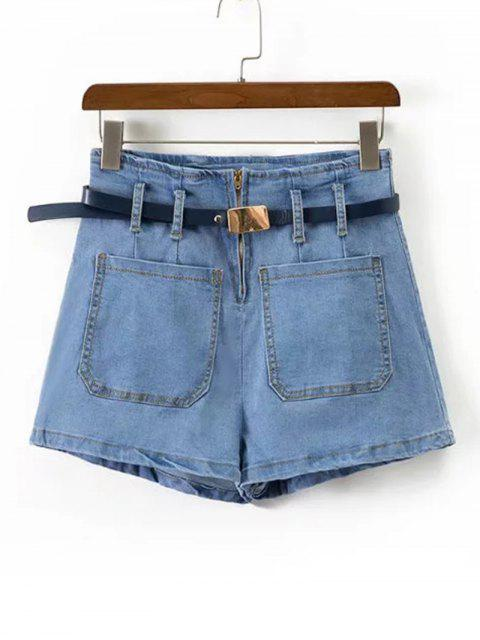 Shorts en denim à talons hauts - Denim Bleu L Mobile