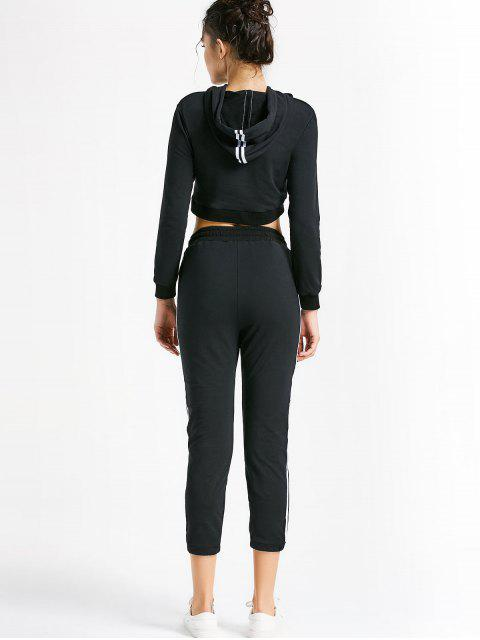 online Sporty Drawstring Hoodie with Pants - BLACK M Mobile
