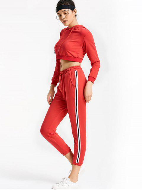 women Sporty Drawstring Hoodie with Pants - RED L Mobile