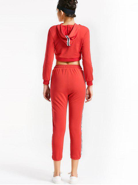 women's Sporty Drawstring Hoodie with Pants - RED M Mobile