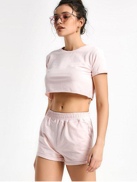 ladies Cotton Sports Cropped Top and Shorts Suit - PINK L Mobile