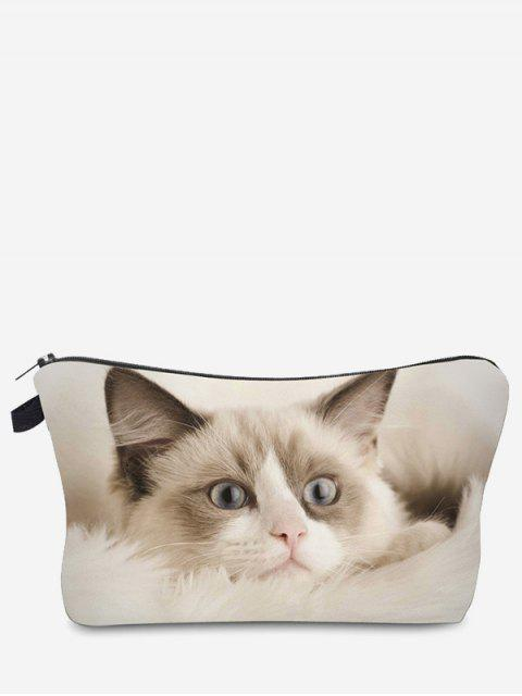 outfits 3D Cat Printed Makeup Bag - OFF-WHITE  Mobile