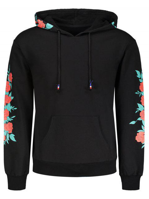 outfits Pullover Floral Print Hoodie - BLACK M Mobile