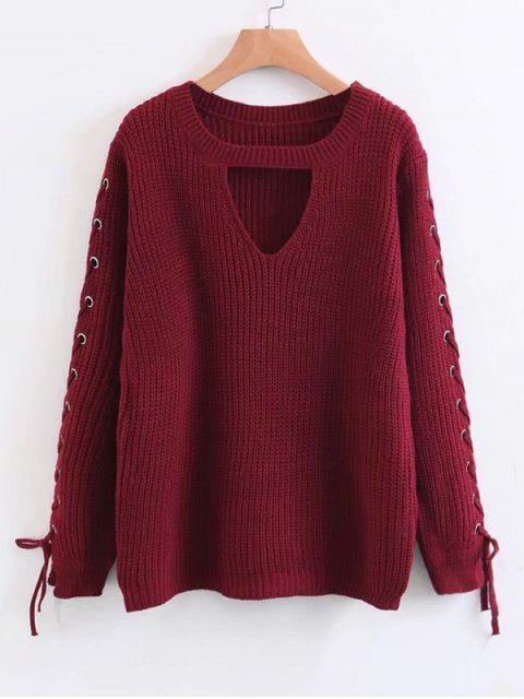 Chunky Pullover mit Schnürsenkel an der Ärmel und Loch vorne - Rot Eine Größe Mobile