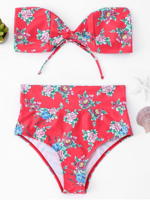 ladies Floral High Waisted Bandeau Bikini Set - RED S Mobile