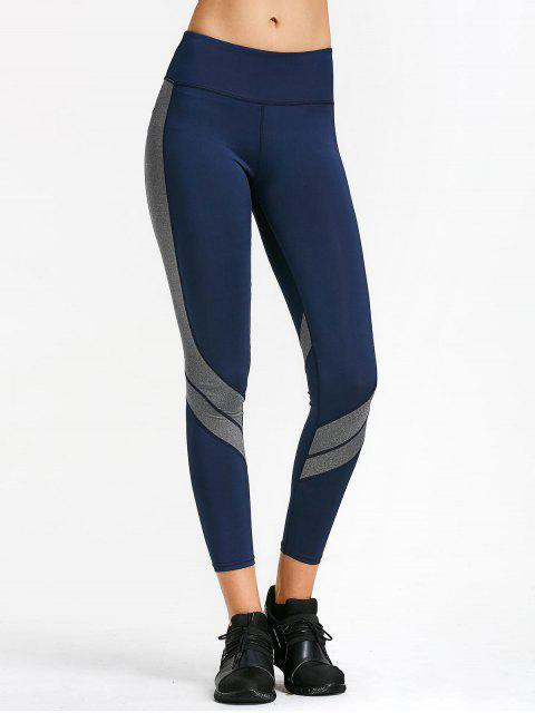 best Two Tone Active Yoga Leggings - PURPLISH BLUE L Mobile