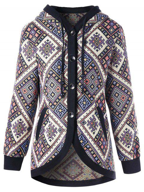 outfit Drawstring Hooded Geometric Tunic Coat - COLORMIX L Mobile