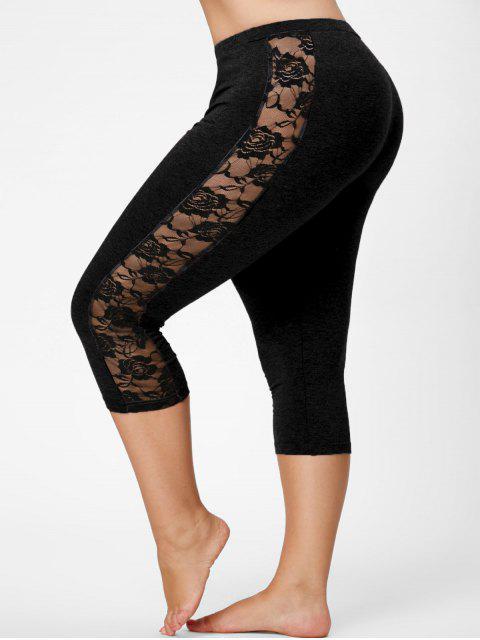 online Lace Mesh Panel Plus Size Capri Leggings - BLACK 2XL Mobile