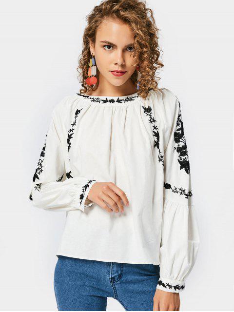 Blusa bordada mangas de linterna suelta - Blanco S Mobile