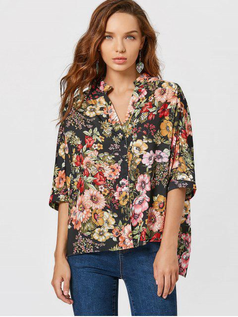 Bluse mit Knopf, Blumendruck und seitlichem Schlitz - Blumen L Mobile