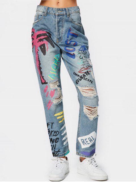 Zerstörte Tapere Jeans mit  Buchstaben Grafik - Denim Blau S Mobile