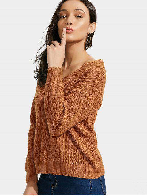 online Back Lace Up V Neck Pullover Sweater - BROWN ONE SIZE Mobile