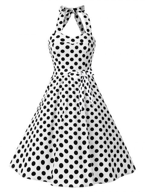 Vintage Halter Lace Up Backless Pin Up Dress WHITE: Dresses 2017 2XL ...