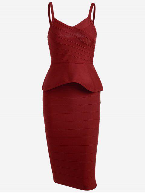 Flounce Cami Top y conjunto de falda vendaje - Rojo M Mobile