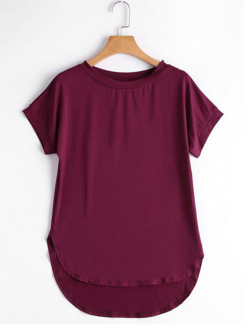 Runder Kragen Einfaches Hohe Niedriges T-Shirt - Dunkelrot XL  Mobile