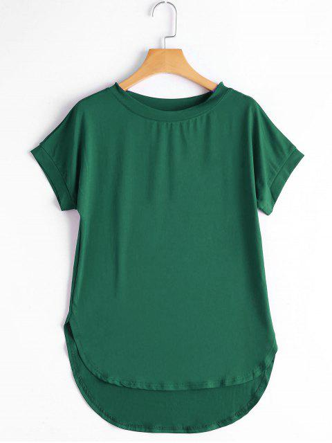 T-shirt Haut-Bas Simple Col Rond - GREEN M Mobile