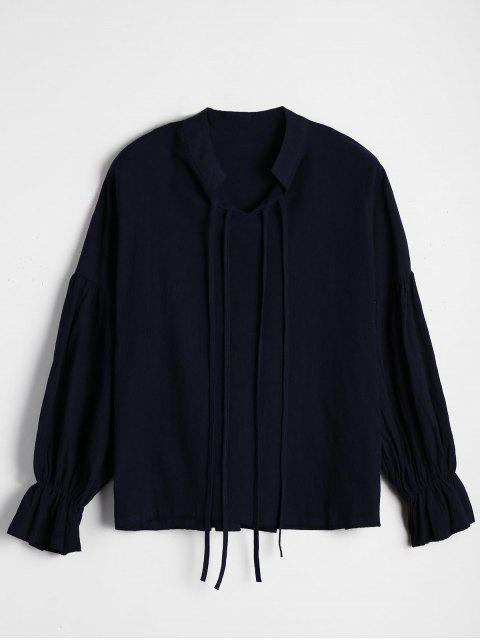 Puños Elásticos Blusa suelta - Azul Purpúreo M Mobile