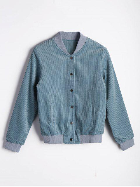 lady Button Up Pleated Bomber Jacket - LIGHT BLUE M Mobile