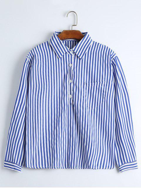 Chemise Rayée à épaules Tombantes à Poche - Texture de Bande Bleu M Mobile
