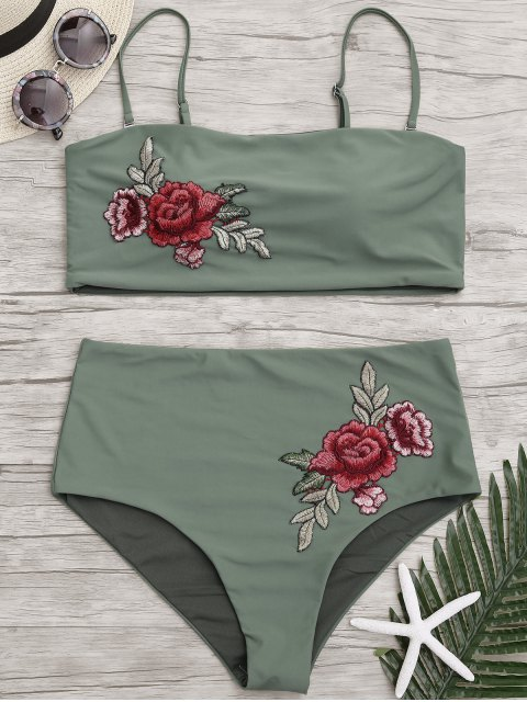 Bikini de talle alto con apliques y talla grande - Verde del ejército 3XL Mobile