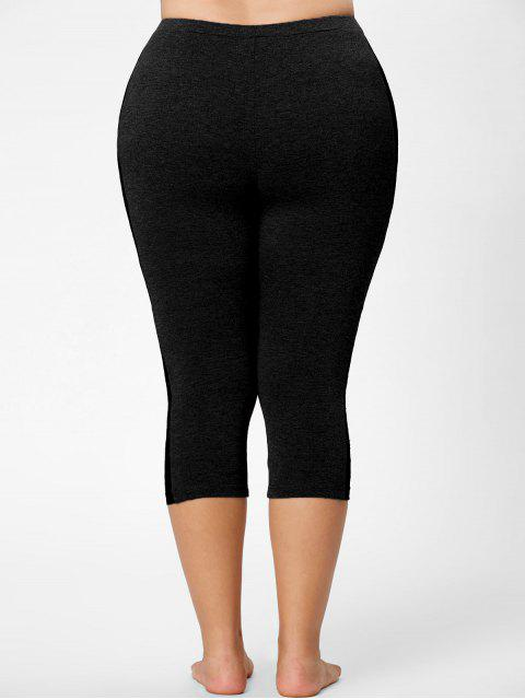 unique Lace Mesh Panel Plus Size Capri Leggings - BLACK 5XL Mobile