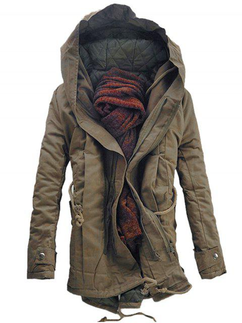fancy Hooded Double Zip Up Padded Parka Coat - DARK KHAKI 5XL Mobile