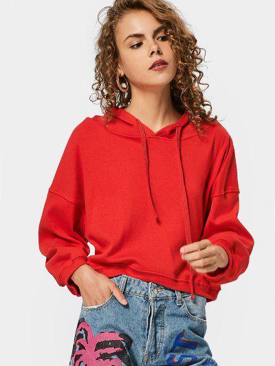 Loose Casual Drop Shoulder Hoodie - Red
