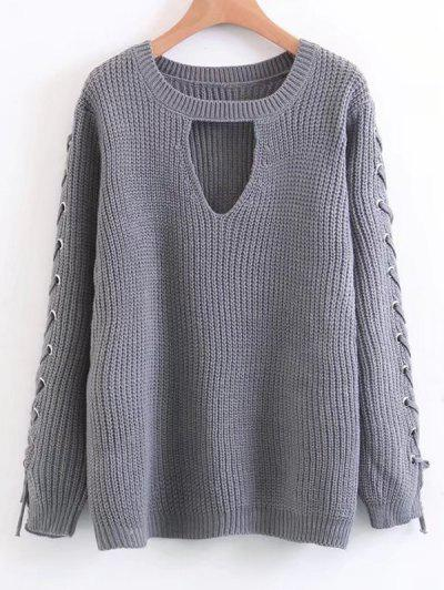 Lace Up Chunky Choker Sweater - Gray