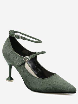 Double Buckle Strap Strange Style Pumps - Green - Green 38