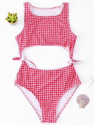 Cutout Checked One Piece Swimsuit - Red S