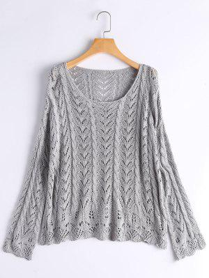 Scalloped Sheer Oversized Sweater - Gray