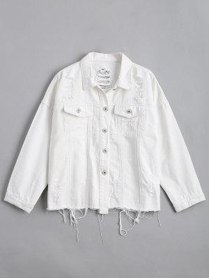Button Up Distressed Letter Denim Jacket - White